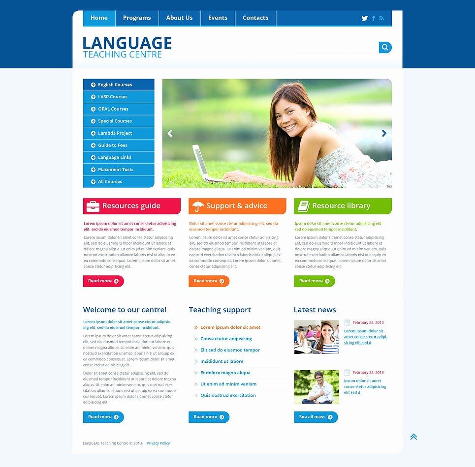 School Web Site Template Luxury Language School Responsive Website Template