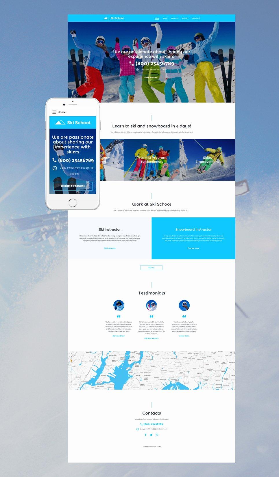 School Web Site Template Luxury Skiing Website Template