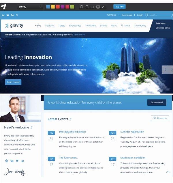 School Web Site Template Unique 16 School Website themes & Templates