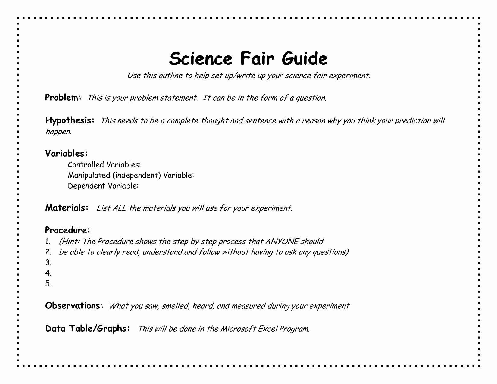 Science Fair Project Template Awesome 6 Best Of Science Experiment Template Science