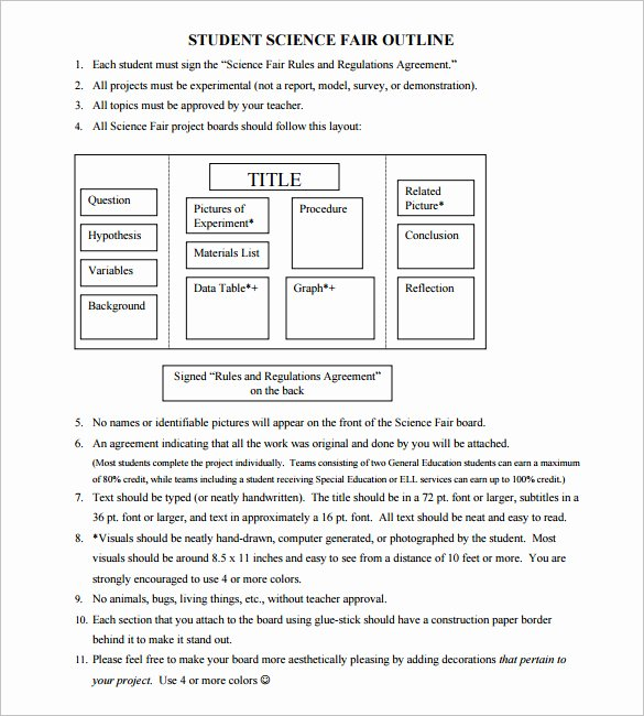 Science Fair Project Template Beautiful Project Outline Template 8 Free Sample Example format