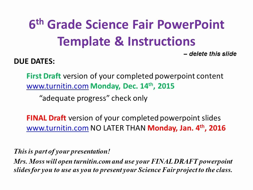 Science Fair Project Template Fresh 6th Grade Science Fair Powerpoint Template & Instructions