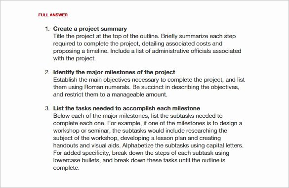 Science Fair Project Template Inspirational Project Outline Template 8 Free Word Excel Pdf format