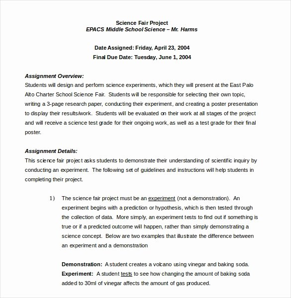 Science Fair Project Template New 15 Word Project Templates Free Download