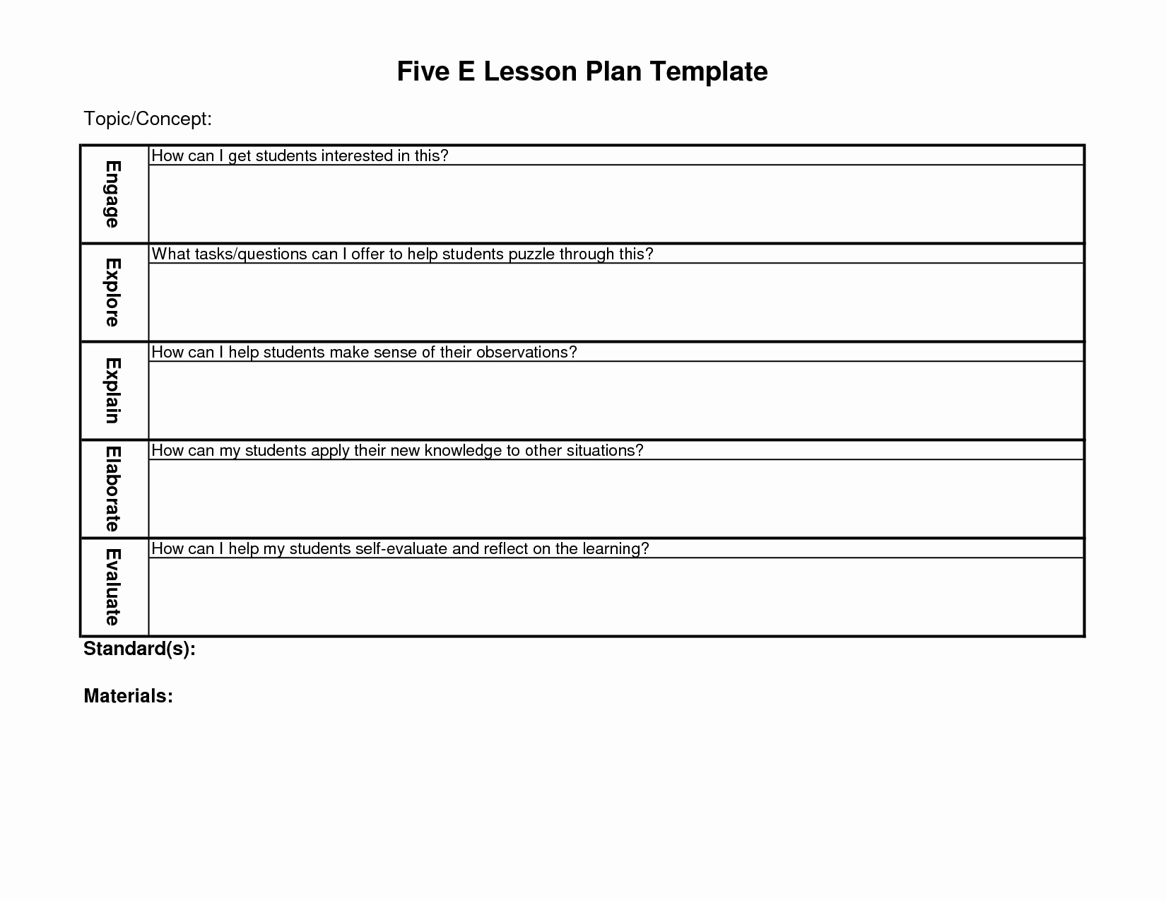 Science Lesson Plan Template Beautiful 5 E Lesson Plan Template