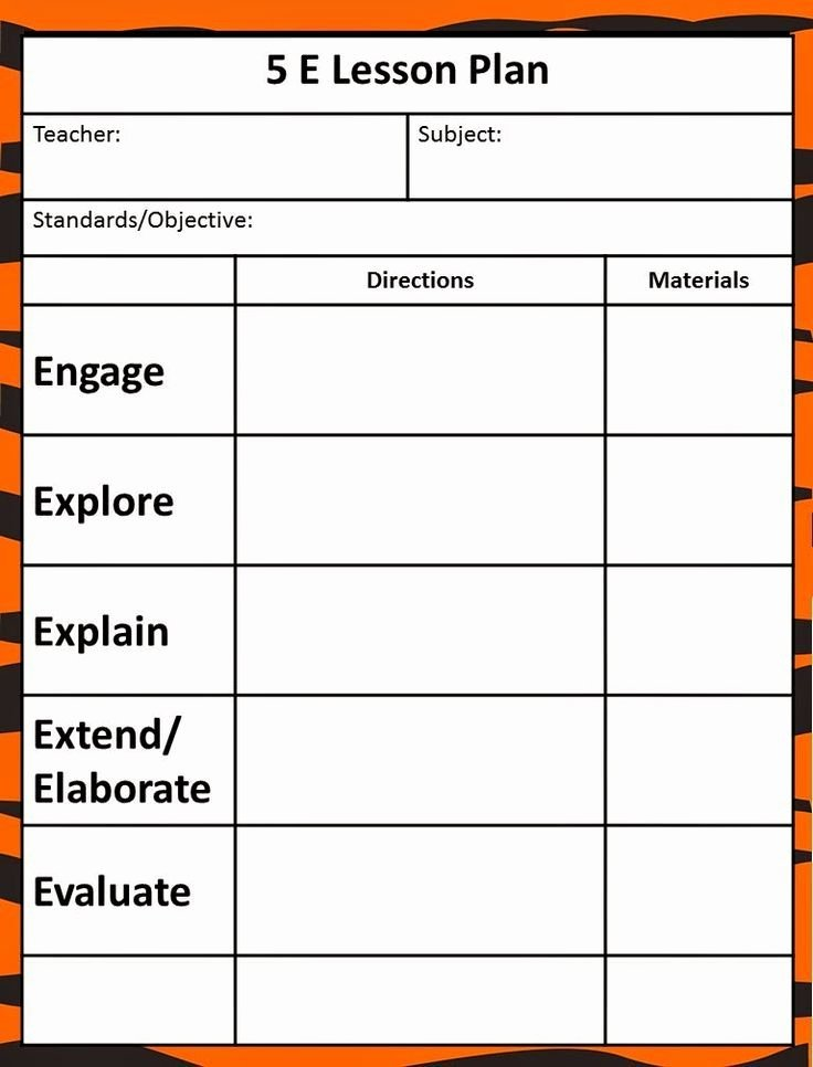Science Lesson Plan Template Inspirational 5 E Lesson Plan Lesson Plan Template
