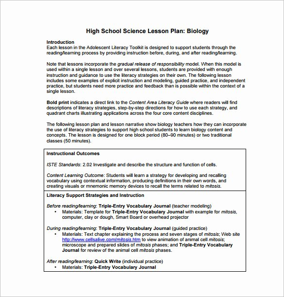 Science Lesson Plan Template Unique High School Lesson Plan Template 9 Free Pdf Word