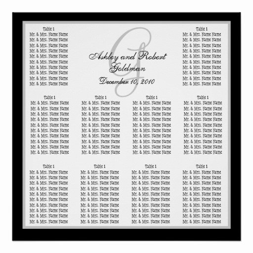 Seating Chart Poster Template Elegant Template Wedding Seating Chart Monogram Names Posters