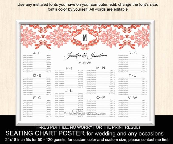 Seating Chart Poster Template Inspirational Items Similar to Wedding Seating Chart Template Printable