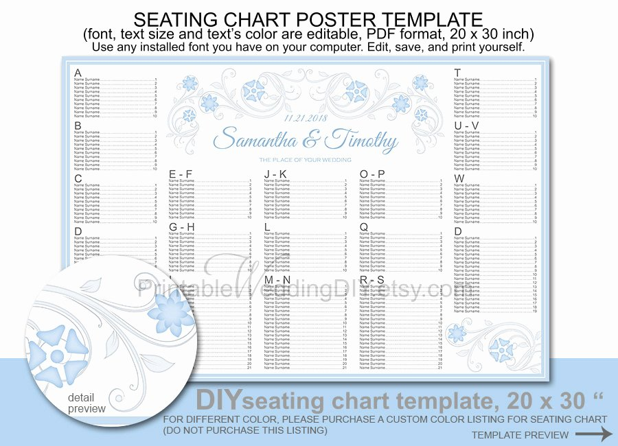 Seating Chart Poster Template Lovely Wedding Seating Chart Poster Template Printable Diy Reception
