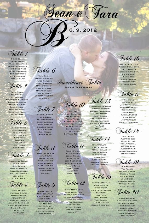 Seating Chart Poster Template Unique Seating Poster Wedding Reception Table by