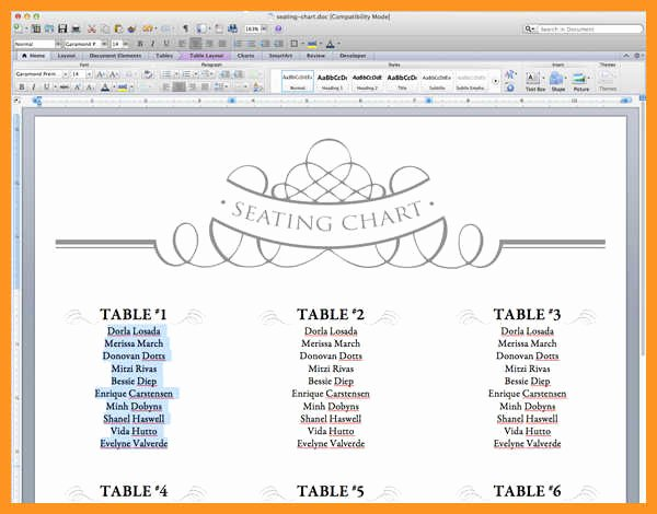 Seating Chart Template Excel Unique 10 11 Wedding Seating Chart Template Excel