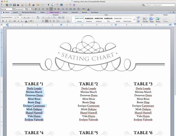 Seating Chart Template Word Elegant Elegant Diy Table Numbers Seating Chart