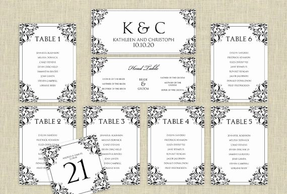 Seating Chart Template Word Elegant Wedding Seating Chart Template Download Instantly