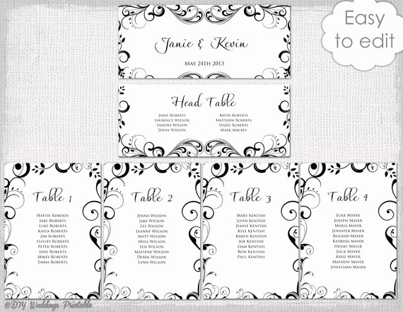 Seating Chart Template Word Luxury Wedding Seating Chart Template Black and White