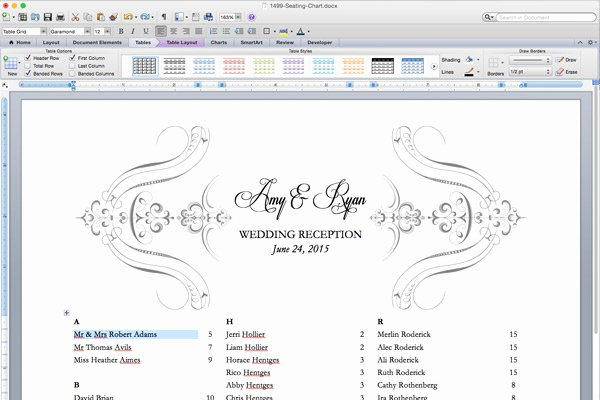 Seating Chart Template Word New Free Printable Wedding Reception Templates