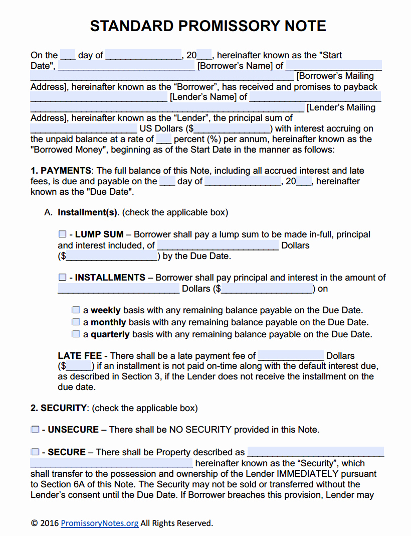 Secured Promissory Note Template Awesome Free Promissory Note Template Adobe Pdf & Microsoft Word
