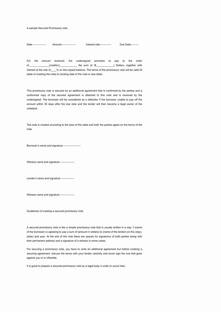 Secured Promissory Note Template Fresh 8 Secured Promissory Note Template Free Download