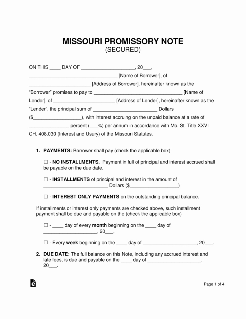 Secured Promissory Note Template Unique Free Missouri Secured Promissory Note Template Word