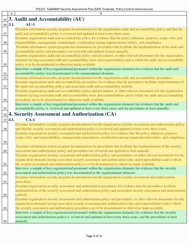 Security assessment Plan Template Awesome Policy Fedramp Security assessment Plan Sap Template