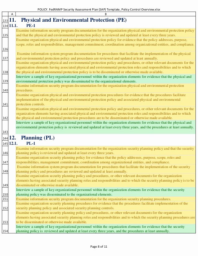 Security assessment Plan Template Elegant Policy Fedramp Security assessment Plan Sap Template