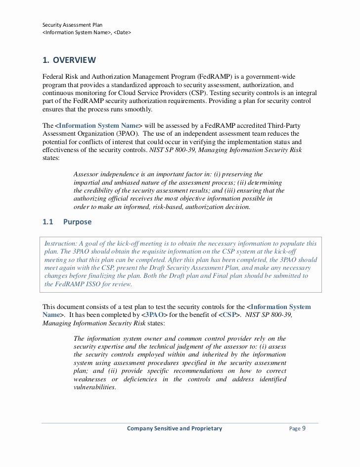 Security assessment Plan Template Fresh Security assessment Plan Template