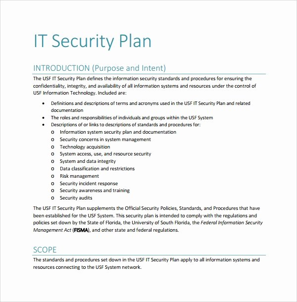 Security assessment Plan Template Inspirational 10 Security Plan Templates