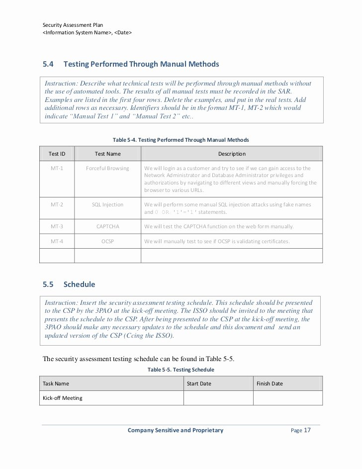 Security assessment Plan Template Luxury Security assessment Plan Template