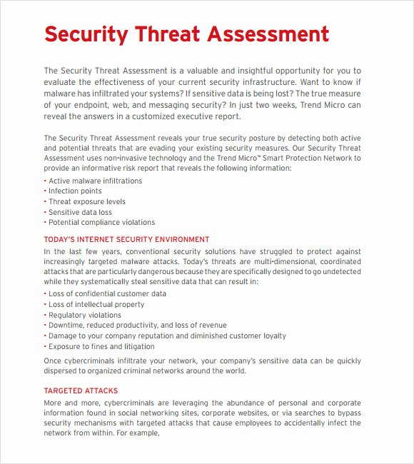 Security assessment Report Template Beautiful 10 Sample Threat assessments