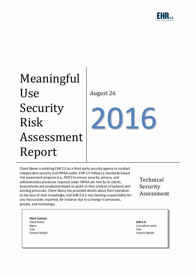 Security assessment Report Template New Meaningful Use Risk assessment Template