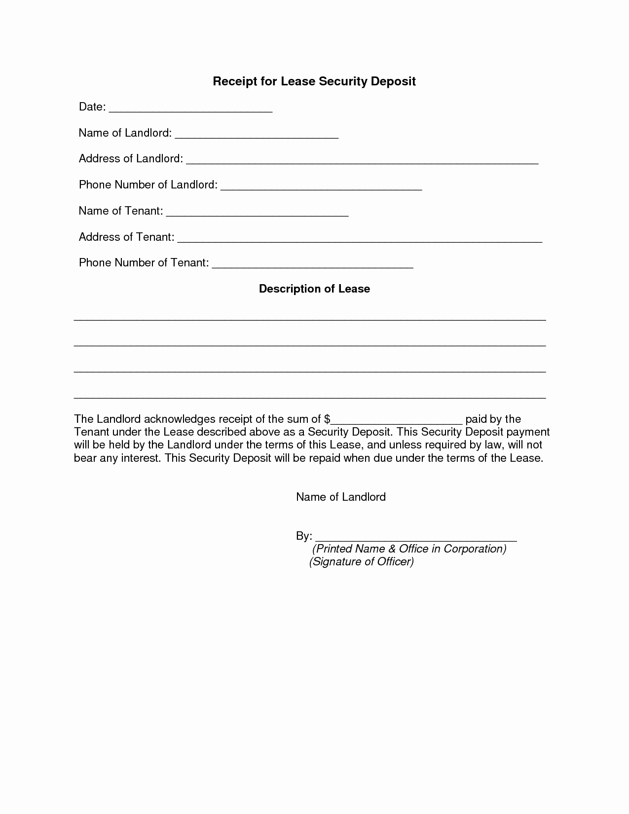 Security Deposit Receipt Template Awesome Best S Of Security Deposit Receipt Agreement