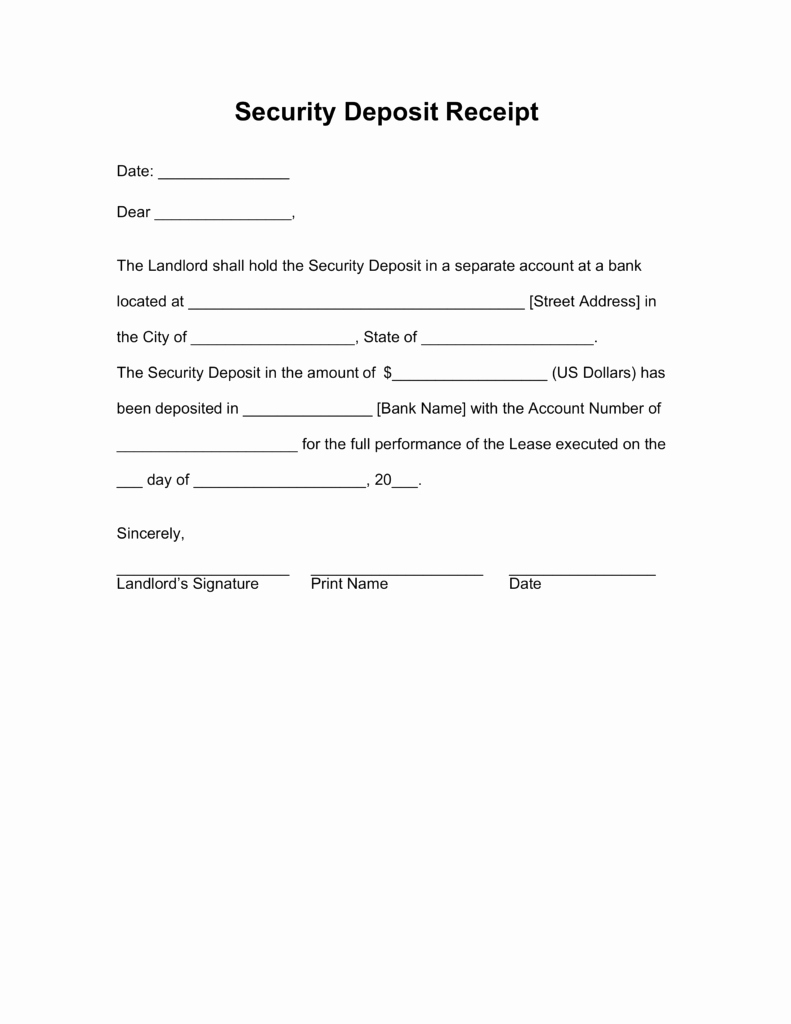Security Deposit Receipt Template Awesome Security Deposit Receipt Templates