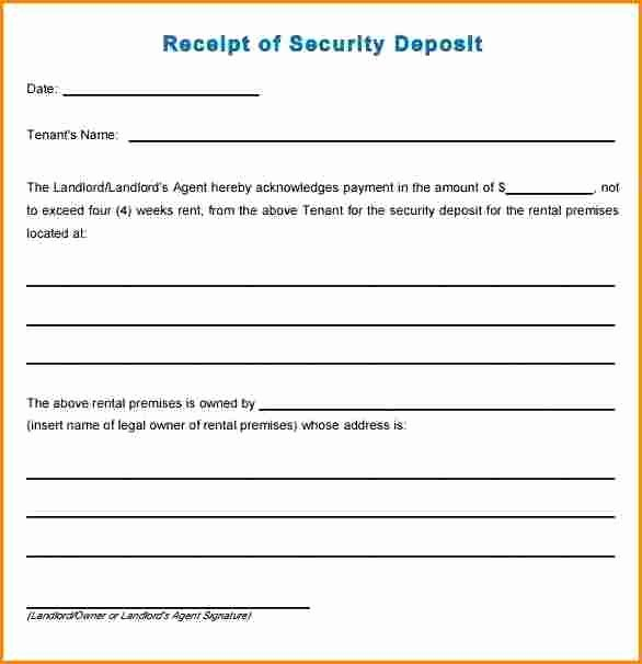 Security Deposit Receipt Template Best Of 7 Rent Deposit Receipt format