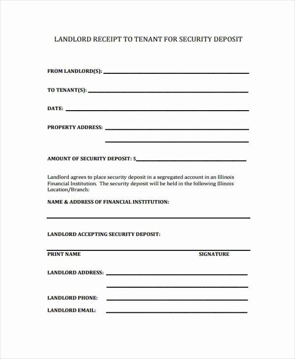 Security Deposit Receipt Template Fresh Receipt form In Pdf