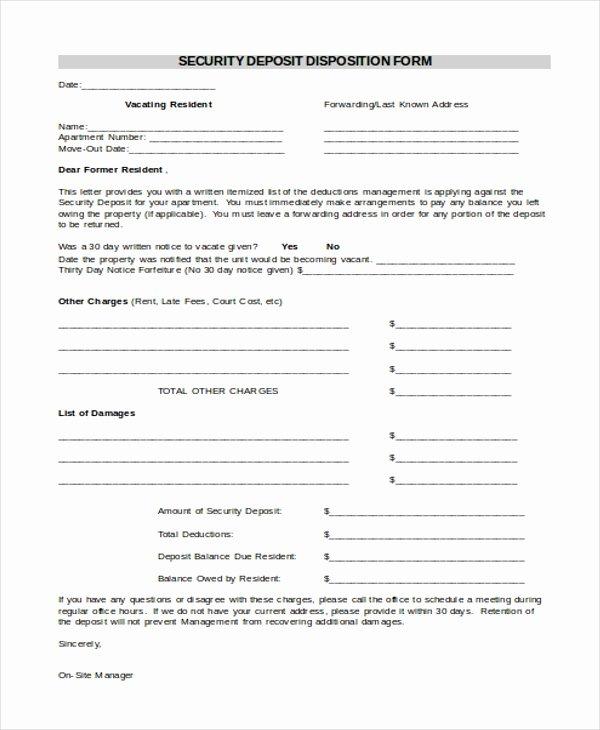 Security Deposit Receipt Template Unique Sample Security Deposit Receipt form 8 Free Documents