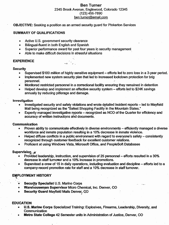 Security Guard Resume Template Awesome Pin by Ryan Johnstone On Armed Security