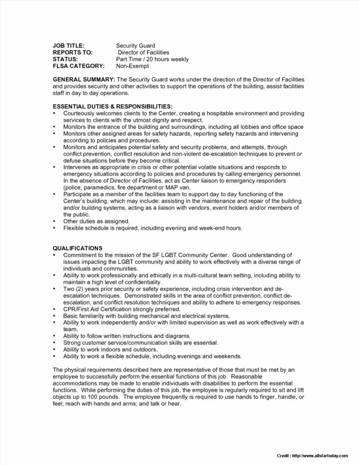Security Guard Resume Template Awesome Sample Unarmed Security Guard Resume Resume Resume