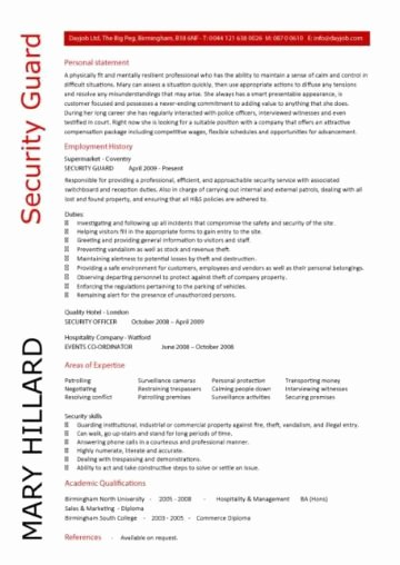 security guard cv sample 571
