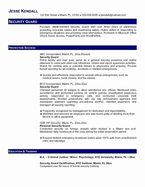 Security Guard Resume Template Best Of Objective for Security Guard Resume Security Guards
