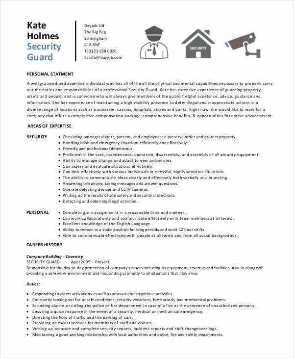 Security Guard Resume Template Best Of Security Guard Resume 5 Free Sample Example format