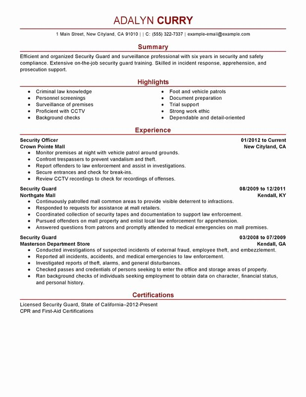 Security Guard Resume Template Best Of Security Guard Resume Examples Created by Pros