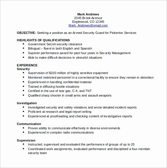 Security Guard Resume Template Elegant 12 Security Resume Templates