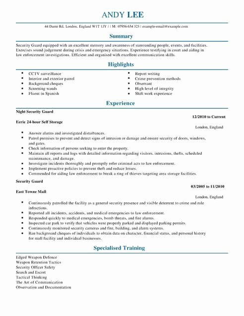 Security Guard Resume Template Elegant Emergency Services Cv Templates