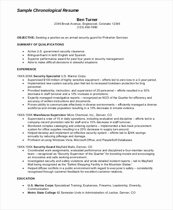 Security Guard Resume Template Elegant Security Guard Resume 5 Free Sample Example format