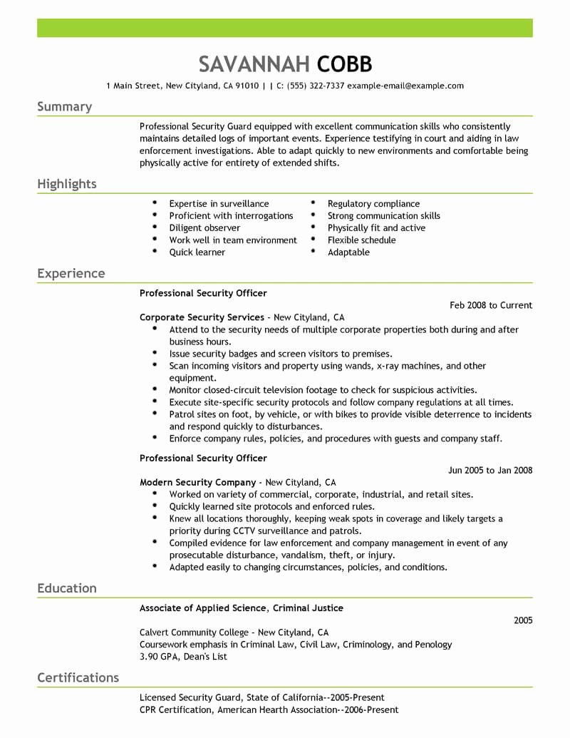 Security Guard Resume Template Inspirational Best Professional Security Ficer Resume Example