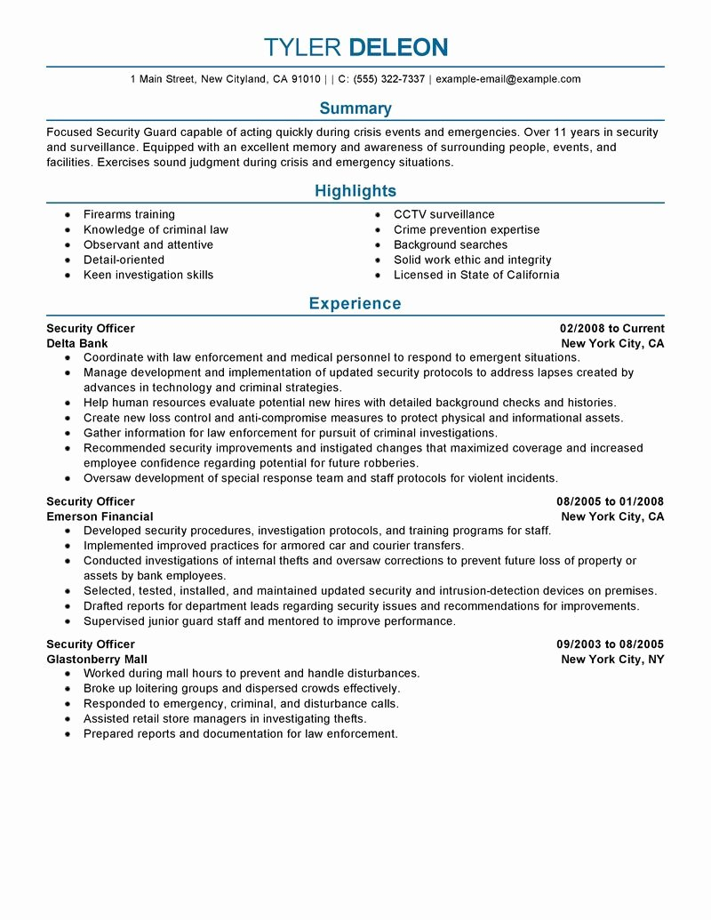 Security Guard Resume Template Inspirational Security Ficer Resume Examples