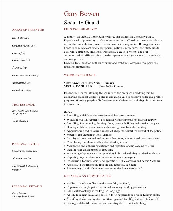 Security Guard Resume Template Luxury Security Guard Resume 5 Free Sample Example format