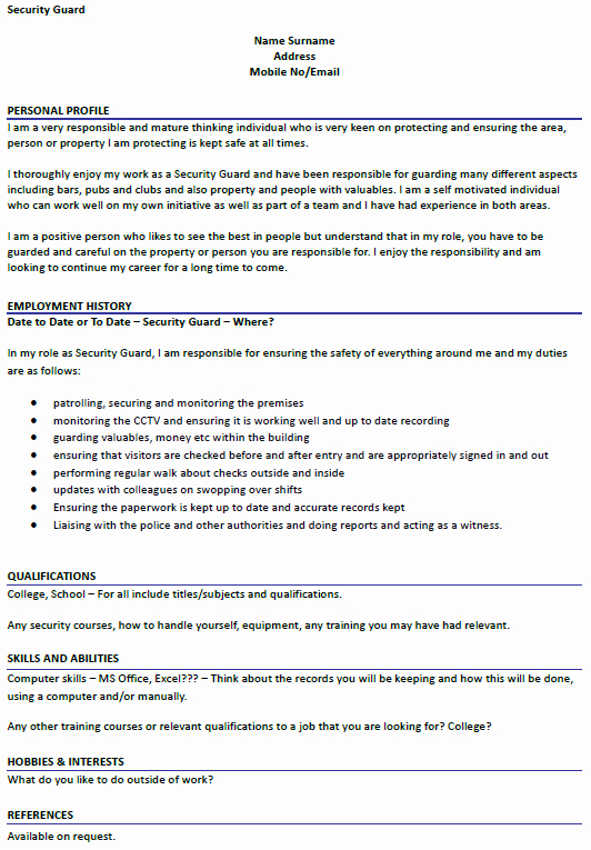 Security Guard Resume Template Unique Security Guard Cv Example Icover