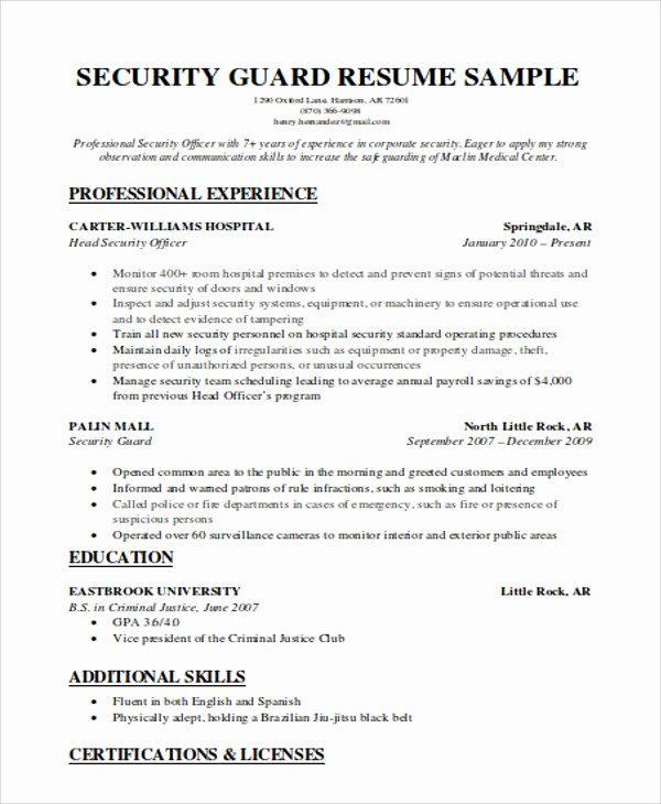 Security Guard Resume Template Unique Security Guard Resumes 10 Free Word Pdf format