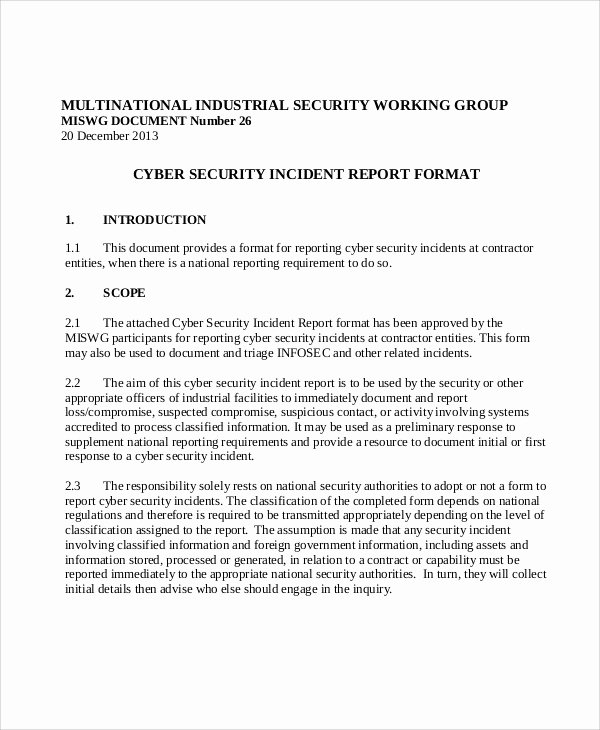 Security Incident Report Template Awesome 13 Sample Security Incident Reports – Pdf Word